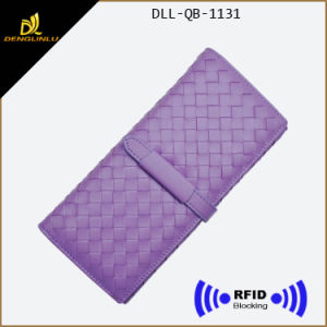 Fashion RFID Blocking Purse Woven Pattern PU Wallet pictures & photos