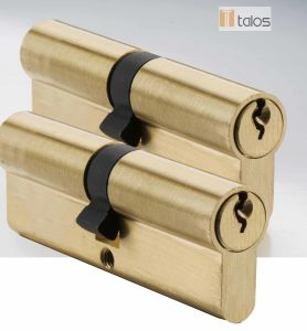 Economy Euro Secure Double Cylinder Lock Brass Nickel Keyed Alike Pair pictures & photos