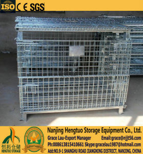 Foldable, Stackable Galvanized Metal Cages, Wire Mesh Pallet Cage, Mesh Pallet Cages Container for Warehouse Storage pictures & photos