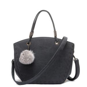 2017 Winter Structured Vegan Polished Dome Curved Whipstitch Tote Bag POM POM Handbag pictures & photos