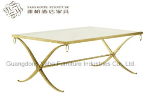 Lobby Iron Coffee Table with Tempered Glass Top pictures & photos