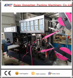 Automatic Soft Handle Strip Attaching Machine for Non Woven Bags (DC-T) pictures & photos