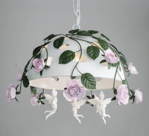 Decorative Green Leaf and Pink Flower Wroght Iron White Finishing Pendant Light pictures & photos