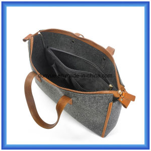 Simple Design Eco-Friendly Portable Wool Felt Shopping Hand Bag, Customized Ladies Tote Handle Bag with PU Leather Comfortable Handle