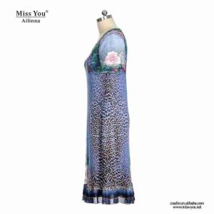Miss You Ailinna 305516 Women Blue Print Floral Mesh Dress with Leopard Print pictures & photos