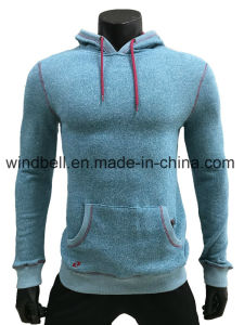 Peacock Blue 100% Cotton Sweat Coat Hoody for Men pictures & photos