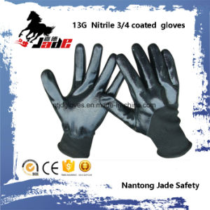 13G 3/4 Black Nitrile Smooth Coated Glove pictures & photos