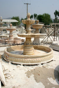 Three Level Beige Marble Sculpture Fountain (SY-F012) pictures & photos
