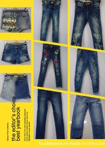 Navy Hot Denim Shorts for Girls (GTS-01) pictures & photos