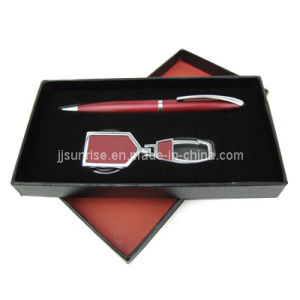 Metal Keyring Gift Set with Pen (JJ-8075(red))