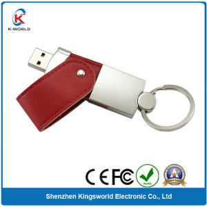 Leather USB Flash Drive 2.0 with Keyring pictures & photos