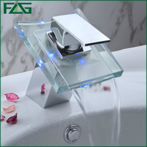 Flg LED Glass Chrome Faucet Waterfall/Tap/Mixer pictures & photos