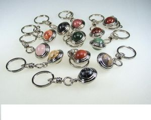 Gemstone Globe Key Ring Pendant/ Promotion Gifts/ Semi Precious Stone Globe Key Rings Globe Key Chain Pendants