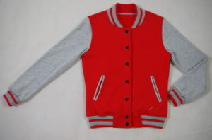 Women′s Baseball Jacket with Contrast Stripe Rib