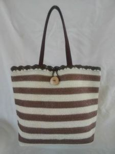 Beach Bag, Made of Polyester, Stripe Color Design with Button Lock pictures & photos