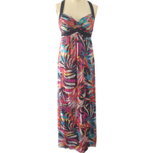 Ladies Fashion Evening Dress in Printed Silk Chiffon