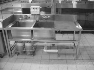 Stainless Steel Sink with 2 Bowls and Drain Table for Restaurant Kitchen