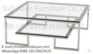 Modrest Topaz Modern Glass Coffee Table Stainless Steel Frame Metal Coffee Table pictures & photos