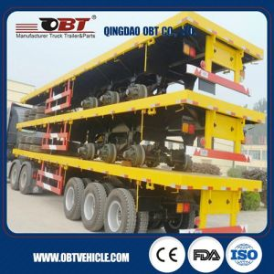 Improved 3 Axle 40FT Flatbed Container Trailer with 12 Wheels pictures & photos