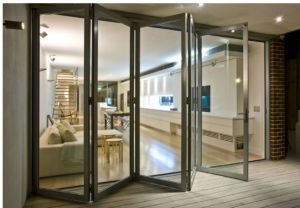 Exterior Sound Proof Tempered Glass Bi Folding Door (pH-8825) pictures & photos