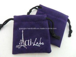 Custom Purple Velvet Small Drawstring Packing Velvet Bag pictures & photos