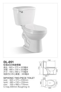 Sanitary Ware S-Trap Siphonic Ceramic Two Piece Toilets (DL-051) pictures & photos