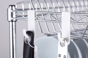 DIY 2 Tiers Chrome Metal Kitchen Dish Drainer Rack pictures & photos