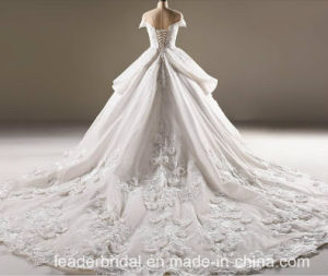 Flora Bridal Ball Gowns Lace Tulle Short Sleeves Wedding Dress 2018 B32 pictures & photos