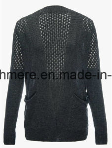 Women′s Sexy Cashmere Blend Sweater with Openwork Embroidery pictures & photos