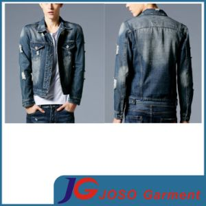 Street Style Ripped Destroyed Ragged Men Jean Buttons Jacket (JC7042) pictures & photos