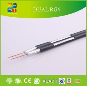100m Coil 18AWG Solid Bc Conductor 60% Coverage RG6 Coaxial Cable (RoHS, CE Approved) pictures & photos