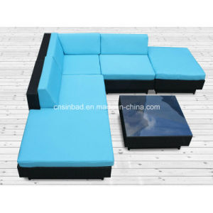 Blue Rattan Sofa for Outdoor with SGS Cetitificated (9509-blue) pictures & photos