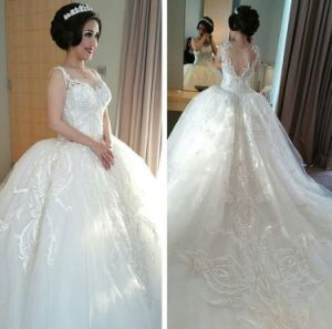 Embroidery Wedding Gowns Tulle Puffy Toto Sleeveless Bridal Dresses Z2026 pictures & photos
