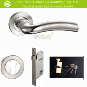 High Anti-Rust Stainless Steel Rose Door Handle with Mortise Lock pictures & photos