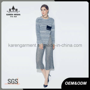 Ladies Heather Ribbed Side Slit Long Sleeve Knit Winter Clothing pictures & photos