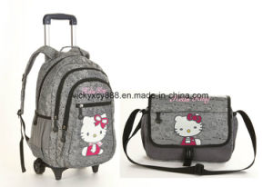 Wheeled Trolley Double Shoulder School Student Bag Backpack Schoolbag (CY3293) pictures & photos