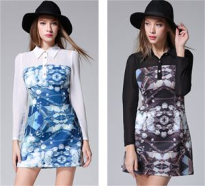 2015 Korean Style New Printing Space Cotton Stitching Color Slim Fit Dress pictures & photos