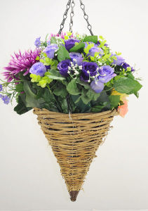 Round Cone Yellow Rattan Hanging Basket pictures & photos