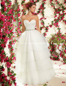 Organza Sweetheart Ball Gown Beaded Belt Wedding Bridal Dress pictures & photos