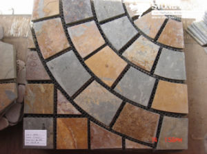 Mesh Rusty Grey Flagstone Mosaic Tiles for Wall (mm088) pictures & photos
