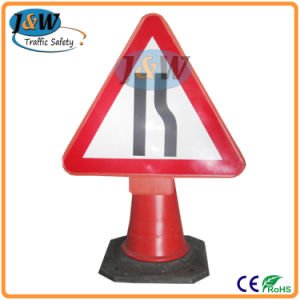 Traffic Cone Mounted Plastic Traffic Safety Sign pictures & photos
