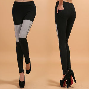 Grey Cotton Zipper Leggings, Mixed Color Leggings pictures & photos
