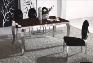 Luxury Design Top Red Marble Wavy Metal Dining Table (A8027) pictures & photos