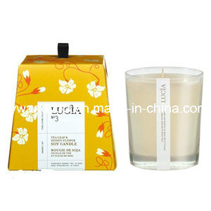 Home Decrative Scented Soy Candle in White Glass with Gift Box
