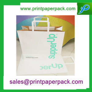 Custom Kraft Paper Carrier Bags with Flat Handles pictures & photos