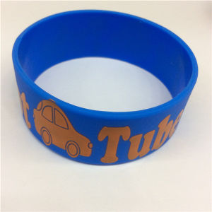 Simple Cheap OEM Customize Printed Logo Silicone Wide Bracelets pictures & photos
