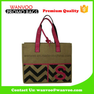Drawstring Recycling Jute Shopping Bag with PU Handle pictures & photos