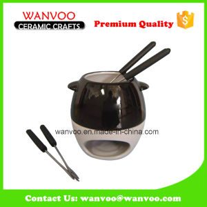 Novelty Ceramic Chocolate Fondue Set for Cheese Tools pictures & photos