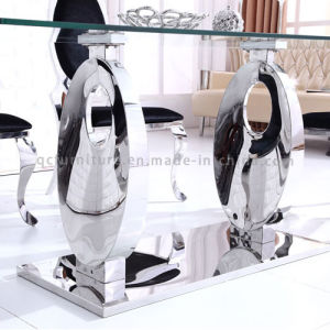 New Design Modern Metal Base Tempered Glass Dining Table pictures & photos