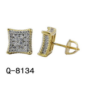 Hotsale Handmade Fashion Hip Hop Jewelry 925 Sterling Silver Cc Pave Stud Earrings for Men pictures & photos